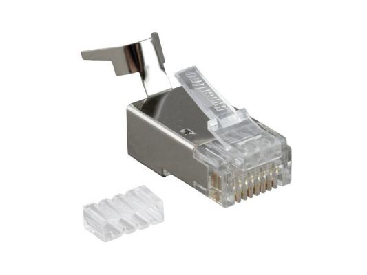 Коннектор Hyperline PLUG-8P8C-UV-C6-TW-SH10 RJ-45(8P8C) категория 6 со вставкой экранированный с зажимом tede td 315 modular plug crimper pliers tool w cutter for 8p8c network cable black dark blue