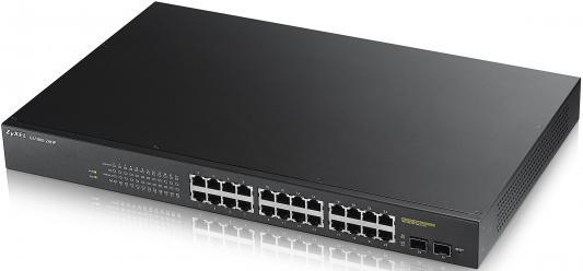 Коммутатор Zyxel GS1900-24HP управляемый 24 порта 10/100/1000Mbps PoE 2xSFP маршрутизатор mikrotik ccr1036 8g 2s 8x10 100 1000mbps 2xsfp 1xmicrousb