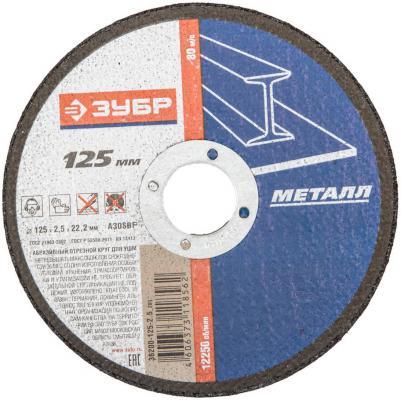 Отрезной круг Зубр абразивный 125х2,5х22,2мм по металлу 36200-125-2.5