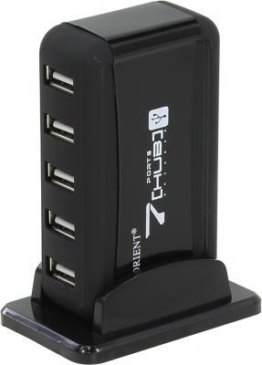 цена Концентратор USB 2.0 ORIENT KE-700NP/N 7 x USB 2.0 черный онлайн в 2017 году