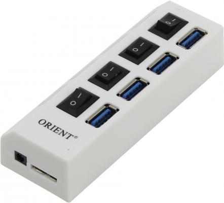 Концентратор USB 3.0 ORIENT BC-307 4 х USB 3.0 белый концентратор usb 3 0 orient bc 306 4 х usb 3 0 черный