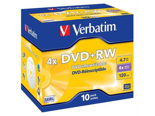 Диски DVD+RW Verbatim 4x 4.7Gb Jewel case 10 шт 43246