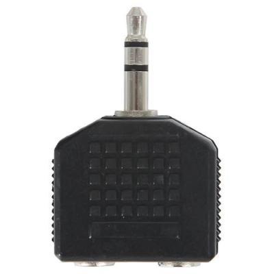 Адаптер Ningbo 2x3.5 Jack(f) - 3.5 Jack(m) черный JAAA095-B переходник 3 5мм jack m 6 3мм jack f