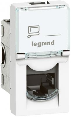 Розетка Legrand Mosaic RJ-45 UTP кат.6 1 модуль белый 76561 розетка itk для rj45 utp кат 5е 1 выход белый cs2 1c5eu 12