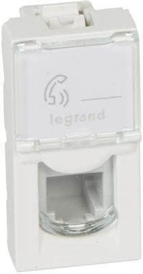 Розетка Legrand Mosaic RJ-11 телефонная 4 контакта 1 модуль белый 78730 телефонная розетка rj11 legrand valena мех in matic 753068