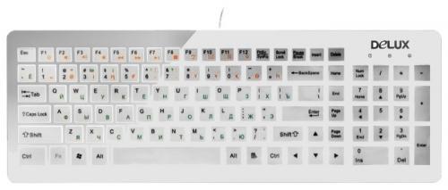 Клавиатура Delux DLK-1500U USB белый клавиатура проводная delux dlk 1500u usb белый