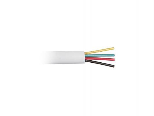 цена Кабель телефонный Hyperline TC-4-WH 4 провода плоский многожильный 100м белый