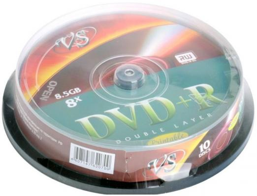 Диски DVD+R double layer Vs 8x 8.5Gb CakeBox 10шт Printable 62070