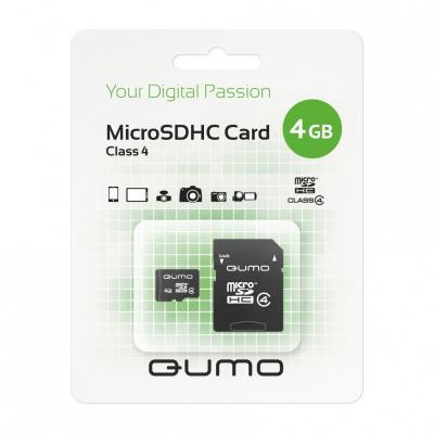Карта памяти Micro SDHC 4Gb class 4 QUMO QM4GMICSDHC4 + SD adapter