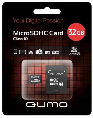 Карта памяти Micro SDHC 32Gb class 10 QUMO QM32GMICSDHC10U1 + SD adapter карта памяти micro sdhc 8gb class 4 qumo qm8gmicsdhc4 sd adapter