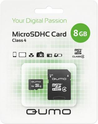 Карта памяти Micro SDHC 8Gb class 4 QUMO QM8GMICSDHC4 + SD adapter карта памяти transcend 8gb microsdhc card class 10 sd 2 0 no adapter ts8gusdc10 ts8gusdc10