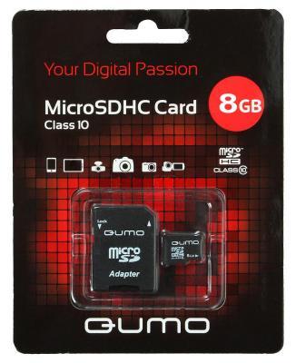 Карта памяти Micro SDHC 8Gb class 10 QUMO QM8GMICSDHC10 + SD adapter