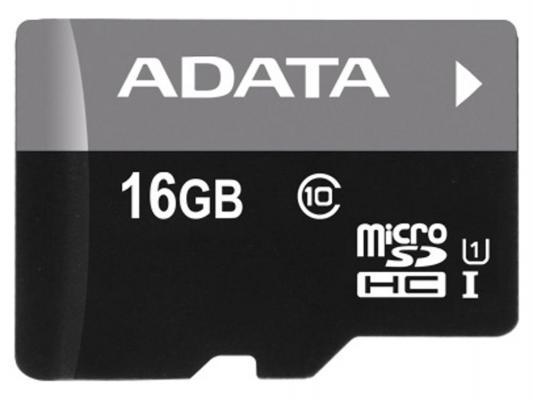 Карта памяти Micro SDHC 16Gb Class 10 A-Data AUSDH16GUICL10-RA1 + адаптер SD