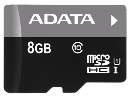 Карта памяти Micro SDHC 8Gb Class 10 UHS-I A-Data AUSDH8GUICL10-RA1 + адаптер SD