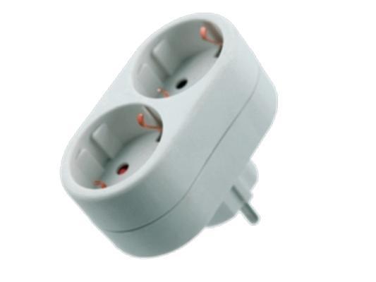 Адаптер Старт SA1/2-ZD 2 розетки белый