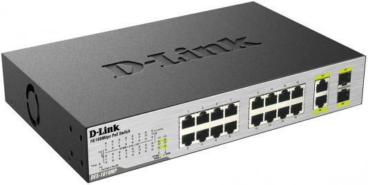 Коммутатор D-Link DES-1018MP/A1A неуправляемый 16 портов 10/100Mbps 2хCombo PoE+ коммутатор d link des 1100 16 управляемый 16 портов 10 100mbps