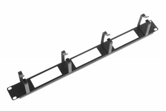 Горизонтальный кабельный органайзер ЦМО с окнами ГКО-О-4.62-9005 1U черный цмо органайзер кабельный горизонтальный гко о 4 62 с окнами 19 1u 4 кольца серый