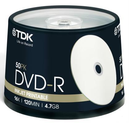 Купить Диски DVD+R TDK 4.7Gb 16x CakeBox Printable 50шт 19919/69