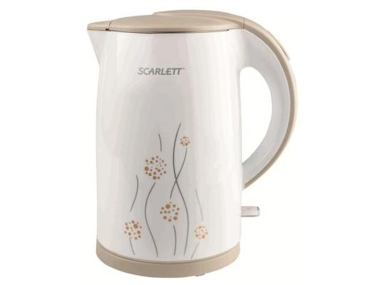 Чайник Scarlett SC-EK21S08 2150Вт 1.7л пластик белый с рисунком scarlett чайник scarlett is 503 белый