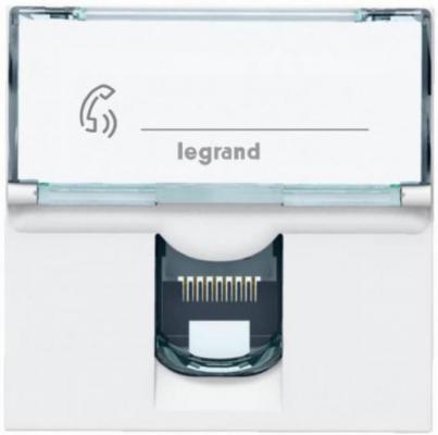 Розетка Legrand Mosaic RJ-45 UTP кат.6e 2 модуля LCS2 76564 суппорт legrand mosaic на 2 модуля белый 10922