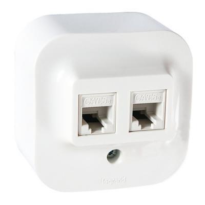 Розетка информационная Legrand Quteo 2xRJ45 кат.5е UTP белый 782228 выключатель двухклавишный наружный бежевый 10а quteo