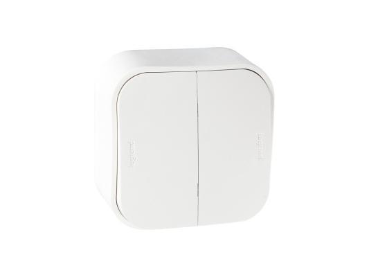 Выключатель Legrand Quteo 10А 2 клавиши белый 782202 выключатель двухклавишный наружный бежевый 10а quteo