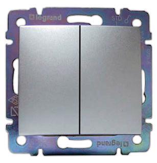 Выключатель Legrand Valena 2-клавишный алюминий 770105