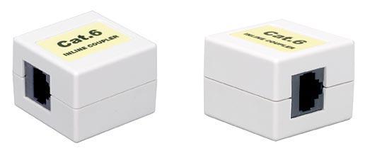 Проходной адаптер Hyperline CA-8P8C-C6-WH для RJ-45(8P8C) категория 6