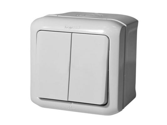 Выключатель Legrand Quteo 2-клавишный серый 782332 выключатель двухклавишный наружный бежевый 10а quteo