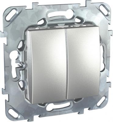 Переключатель Schneider Electric 2-клавишный алюминий MGU5.213.30ZD