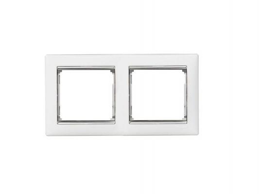 Рамка Legrand Valena 2 поста горизонтальная белый/серебряный штрих 770492