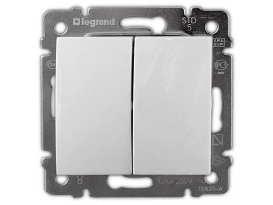Переключатель Legrand Valena двухклавишный белый 774408 переключатель двухклавишный на 2 направления legrand valena 10a 250v белый 774408