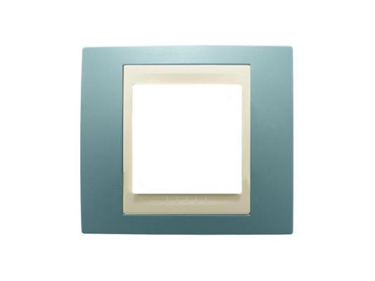 Рамка 1 пост синий/бежевый Schneider Electric Unica MGU6.002.573 рамка 3 пост никель алюминий schneider electric unica top mgu66 006 039