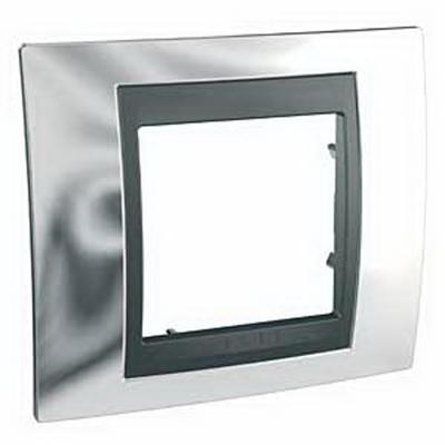Рамка 1 пост хром/графит Schneider Electric Unica Top MGU66.002.210 рамка 3 пост никель алюминий schneider electric unica top mgu66 006 039