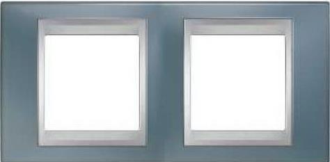Рамка 2 пост серый/алюминий Schneider Electric Unica Top MGU66.004.097  рамка 3 пост лунный алюминий schneider electric mgu68 006 7a2