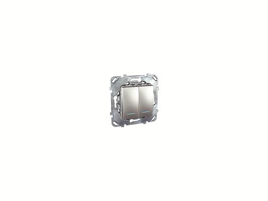Переключатель Schneider Electric 2-клавишный с подсветкой алюминий MGU5.0303.30NZD