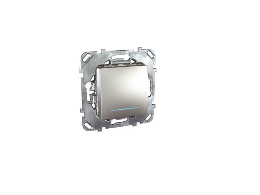 Выключатель Schneider Electric 1-клавишный с подсветкой алюминий MGU5.201.30NZD  выключатель schneider electric 1 клавишный алюминий mgu5 206 30zd