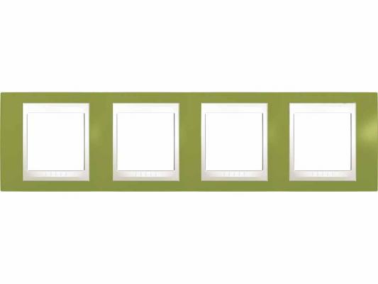 Рамка 4 пост хамелеон фисташковый/бежевый Schneider Electric Unica Plus MGU6.008.566