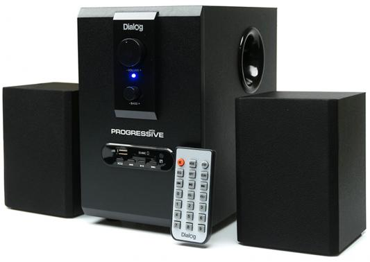 Колонки Dialog Progressive AP-150 2x2.5 + 5 Вт USB+SD reader черный колонки dialog disco ad 07 2 0 brown 24 вт 20 20000 гц fm пульт ду mini jack usb micro sd mdf 220v
