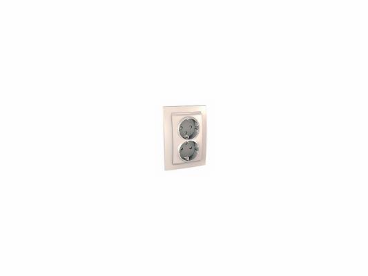 Розетка Schneider Electric электрическая двойная с защитными шторками литая бежевый MGU23.067.25D  цена и фото
