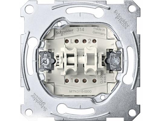 Выключатель Schneider Electric 2-клавишный белый MTN3115-0000 выключатель 3 клавишный schneider electric glossa титан