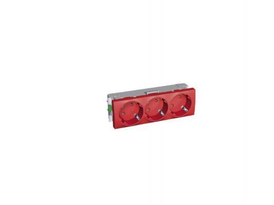 Розетка 45 2P+E Schneider Electric с защитными шторками красный ALB45264