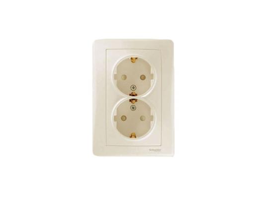Розетка Schneider Electric электрическая двойная с защитными шторками бежевый SDN3000747  цена и фото