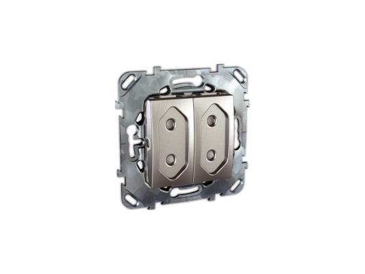 Розетка Schneider Electric электрическая двойная с защитными шторками алюминий MGU5.3131.30ZD  цена и фото