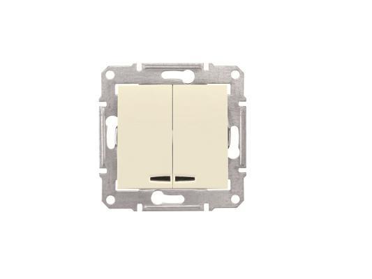 Выключатель Schneider Electric Sedna 2-клавишный с подсветкой белый SDN0300347