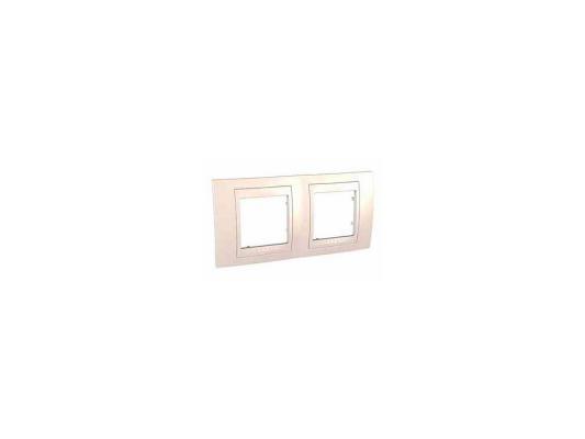 Рамка 2 пост бежевый с декоративным элементом Schneider Electric Unica MGU2.004.25
