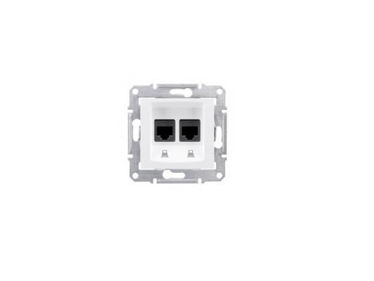 Розетка компьютерная Schneider Electric Sedna SDN4400121 2хRJ45 кат. 5e UTP белый выключатель двухклавишный проходной с подсветкой шампань рифленый wl10 sw 2g 2w led 4690389085338