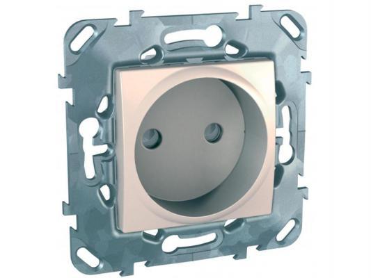 Розетка Schneider Electric без заземления со шторками бежевый MGU5.033.25ZD