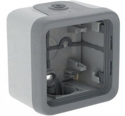 Электромонтажная коробка Legrand Plexo 1 пост серый 69651 коробка распределительная legrand plexo 40х40х60 мм цвет серый ip55