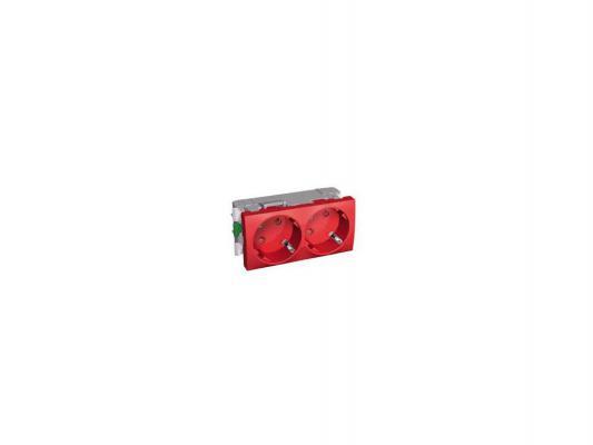 Розетка двойная Schneider Electric со шторками красный ALB45254 блок светодиодный schneider electric 24в красный zbvb4